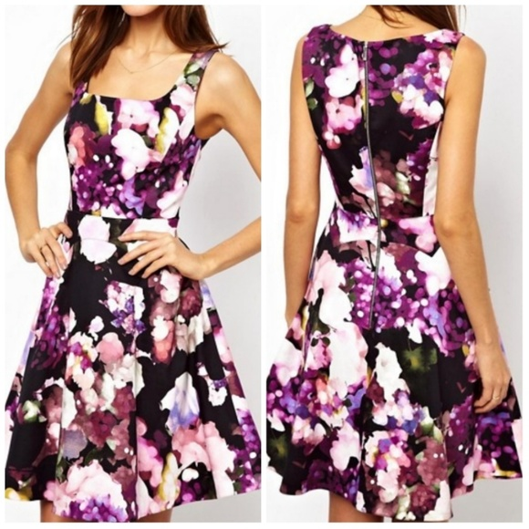 a06363a3b4ca Karen Millen Dresses   Skirts - Karen Millen Purple Floral Skater Dress